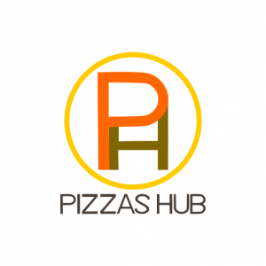 Domain Name: PizzasHub.com and its custom vector logo